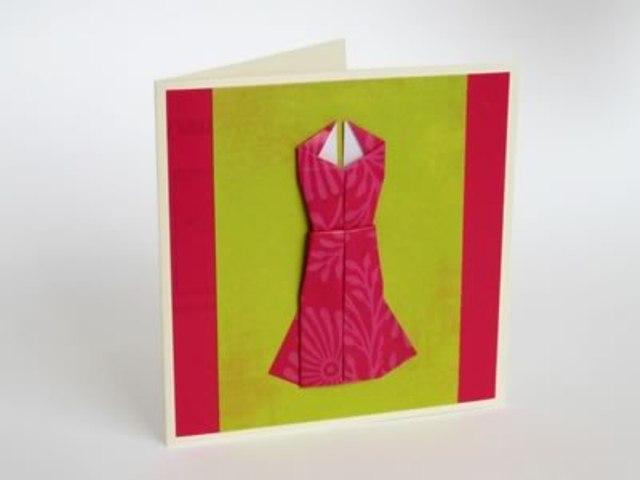 Оригами открытка платье 24