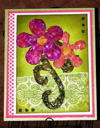 Мозаика из яичной скорлупы - на открытке (9)