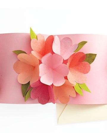 объемная открытка с цветами внутри