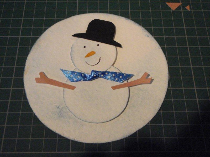 Снеговик на открытку из гофрированной бумаги, открытки добрым