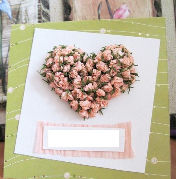 Открытка с объемными цветами ко дню Святого Валентина